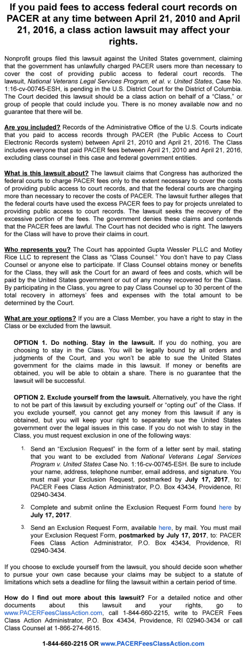 Gmail - PACER Fees - Notice of Class Action Lawsuit 70